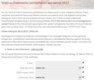 Voting Leichtathlet des Jahres 2017